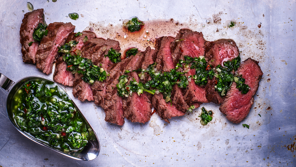 Dry Rubbed Flank Steak with Chimichurri Sauce